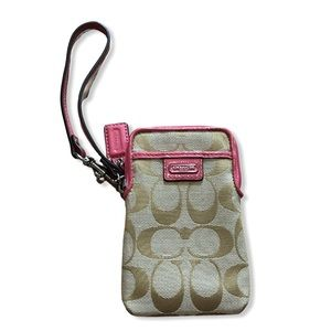COACH Tan and Pink Phone Case Wristlet